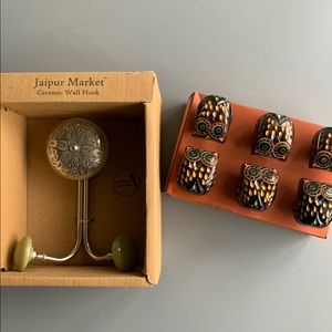 NIB Jaipur Market Ceramic Wall Hook & Knobs